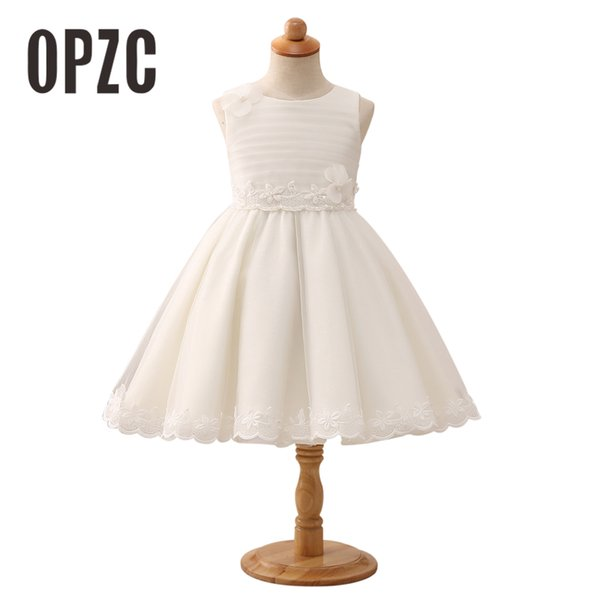 2018 New arrival Appliques Lace Flower Girl Dress Elegant Pearls princess Ball Gown Girls Pageant Party Dress