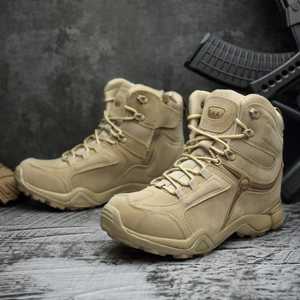 50b2ac3f787 Mens Ankle Boots Army Tactical Outdoor Waterproof Hiking Boots Military  Desert Combat Mountain Climbing Anti Skid Hiking Boots Us6.5 12 Fly Boots  ...