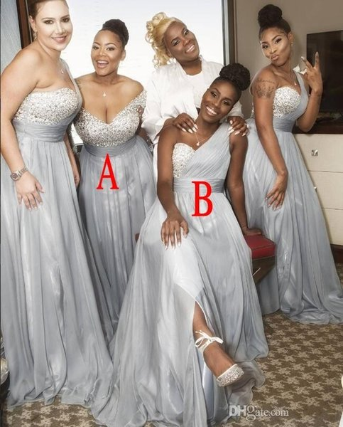 2019 Sexy Chiffon African Crystals Sweetheart Bridesmaid Dresses Beads Sleeveless Floor Length One Shoulder Plus Size Formal Dresses
