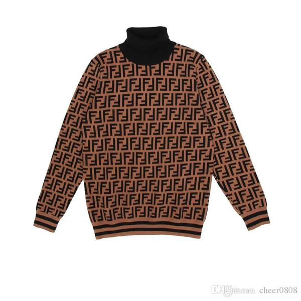 2018 Alta Qualidade No.1FENDI Jovens Pessoas de Duas Cores Camisola de Gola Alta Moda Camisola Khaki Moda Assentamento Camisa M-3XL