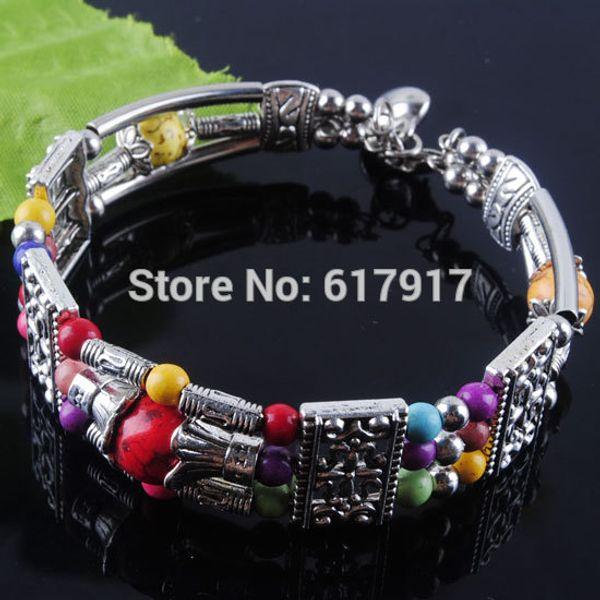 "Free shipping Tibetan Silver Vintage Antique Multicolor Howlite Gem Stone Round Beads Charm Bracelet Bangle 6.5""-7""L 1PCS Z629"
