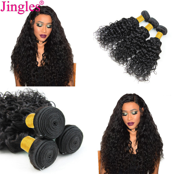 Jingles 8A Water Wave Indian Virgin Hair Weave Bundles Deals 100 Unprocessed Indian Water Wave Human Hair Extensions 8-28inch Cheap Weaves