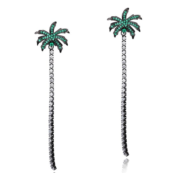 Long Coconut Tree Drop Earrings For Women Sexy Cubic Zirconia Tassels Dangle Earrings Beach Beach Holiday Fashion Jewelry -700