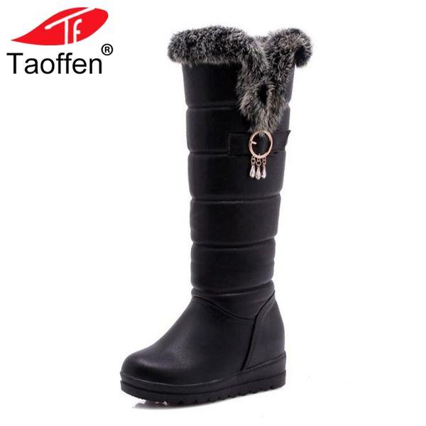 Taoffen Donna Snow Boots Winter Peluche Fur Inside Heels Shoes Women Keep Warm Knee High Boots Moda Scarpe in cotone Taglia 30-42