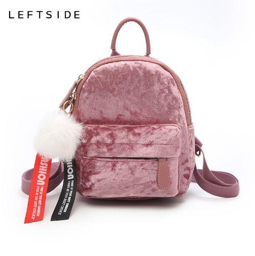 LEFTSIDE Mini Velvet Backpack Bag Female Cute Backpacks High Quality Back Pack For Girls Gift Women's Small Backpack Korean