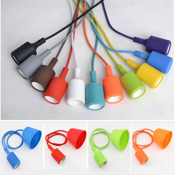 wholesale price Art Decor Silicone Pendant Lamp light bulb Holder Hanging lighting Fixture base Socket silica gel retro Colorful holder