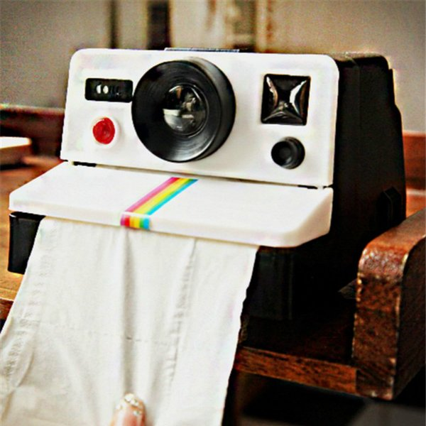 Creative Retro Polaroid Camera Shape Inspired Tissue Boxes Toilet Roll Paper Holder Box Bathroom Accessories Toilet Paper Cover