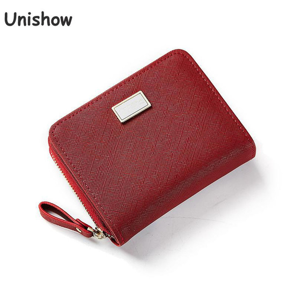 Unishow Women Wallet Small Zipper Female Purse Brand Designer Cross Pattern Mini Lady Wallet Girl Coin Purse Pocket