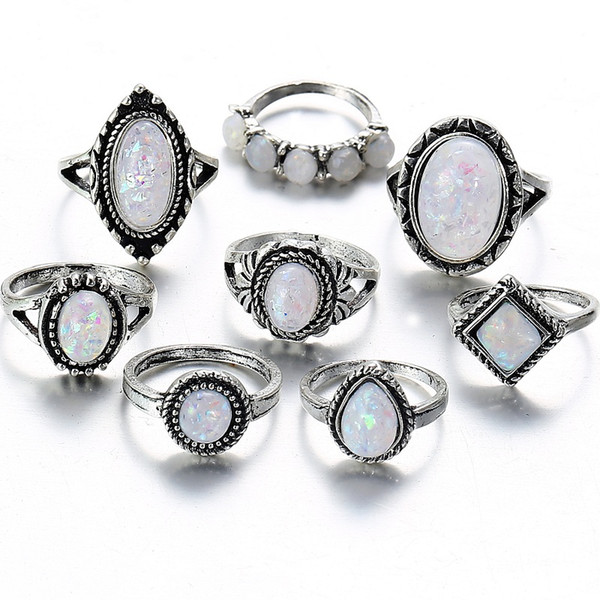 2018 Heißer Verkauf 8PCS / set einfache Retro Opal Ringe für Frauen mit zusätzlichen kostenlosen Probe nach dem Zufallsprinzip