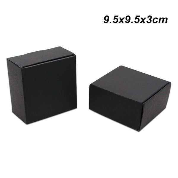 30 Pieces 9.5x9.5x3cm Black Kraft Paper Handmade Soap Boxes for Jewelry Accessory Card Board Party Gifts Arts Crafts Storage Packaging Boxes