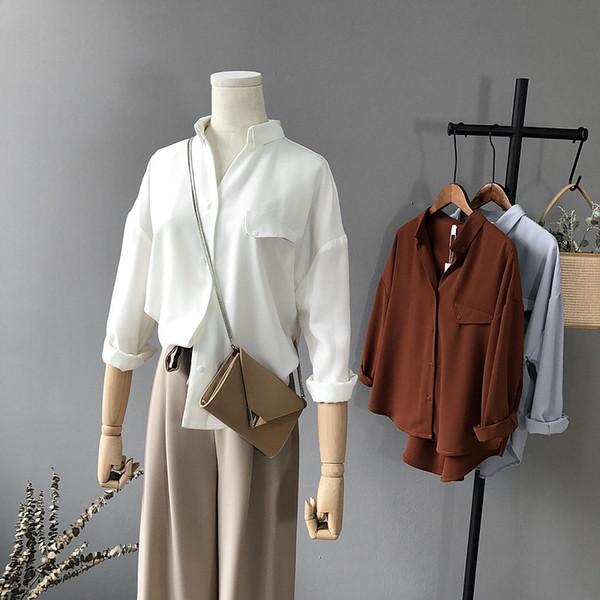 Cistanche Eve 2018 Automne Nouvelle chemise coréenne Porter Chemise Pure Color Simple Col V à manches longues Femmes Women's Snow Spinning Shirt