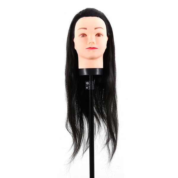 New Faux Hair Hairdressing Dummy Head Practice Training Mannequin Head Hairdressing Mannequin Doll With Clamp Black