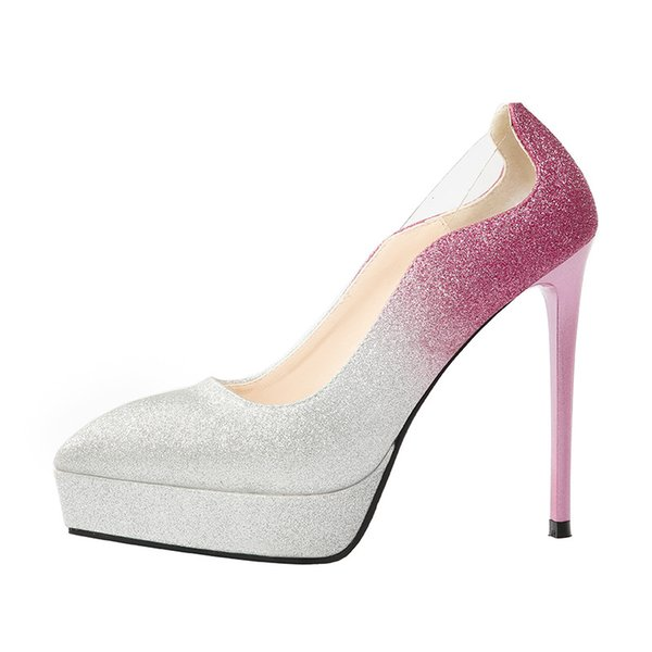 gradient color glitter wedding shoes sexy platform pointed high heel shoes women designer shoes size 34 to 39