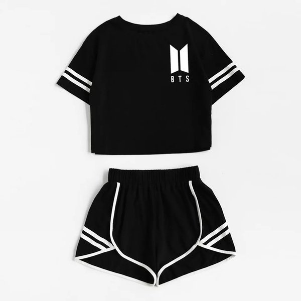 2018 Tracksuit Women Two Piece Set Summer T Shirt Crop Tops and Shorts Set Fashion BTS Kpop Stripe Lady Track Suit 2 Pieces