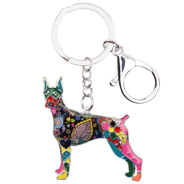 Enamel Alloy Doberman Dog Key Chain Key Ring Jewelry For Women Bag Purse Pendant Car Key Holder 2018 New Keychain Charms