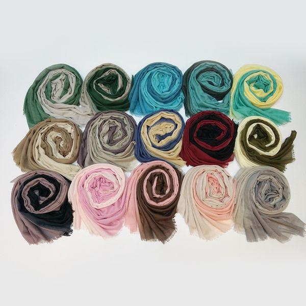 Wholesale 100*180cm 14 Colors Artificial Silk Gradient Designer Scarf Women Hijab Shawls Pashmina Wrap Scarf Table Blanket Beach Towel