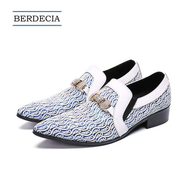 2018 Designer Luxury New Fashion Rhinestone Men Wedding Party Dress Shoes Multicolor Pointed Toe Genuine Leather Male Business Shoes 38-47