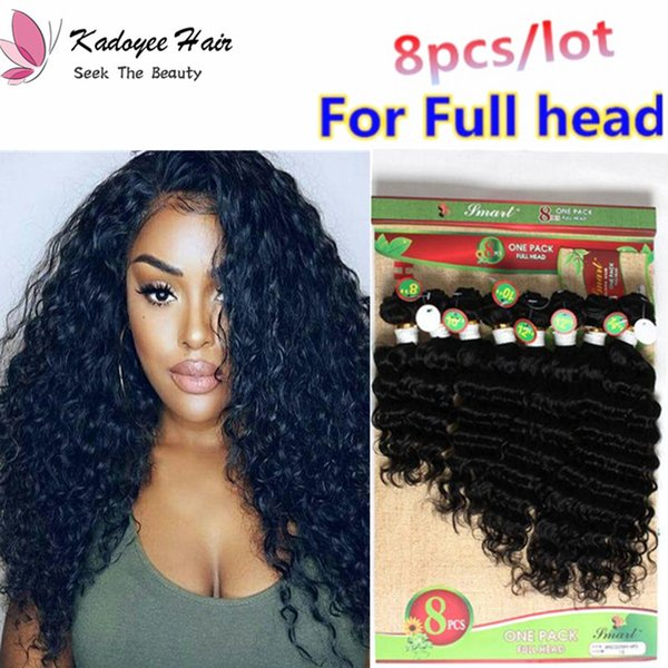 Deep Curl 8pcs/lot Loose wave curly Human hair extensions remy hair natural Black ombre color for black women uk