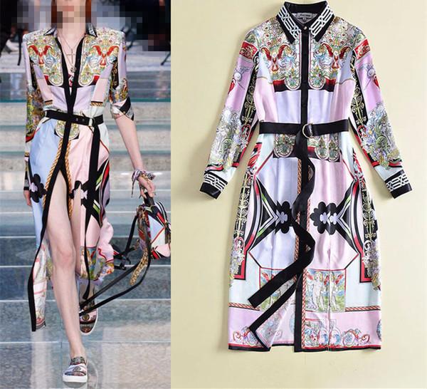 Spring Fashion Long-sleeved Positioning Print Angel Pattern Long Temperament Dress