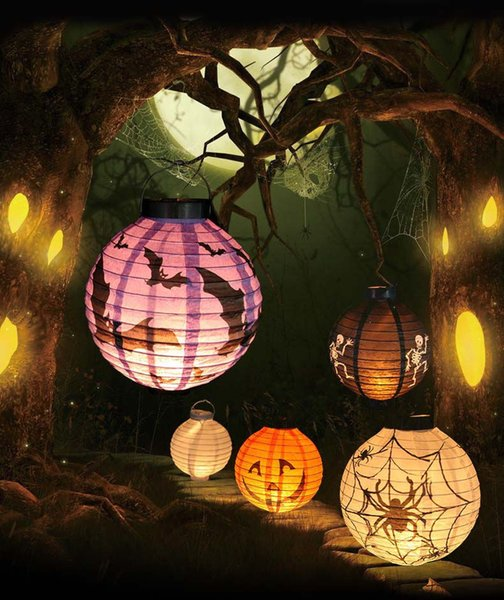 4 Color/set Halloween Gag toys Light-Up Toys Decorations LED Paper Pumpkin Hanging Lantern Lamp Holiday Party Suppl new