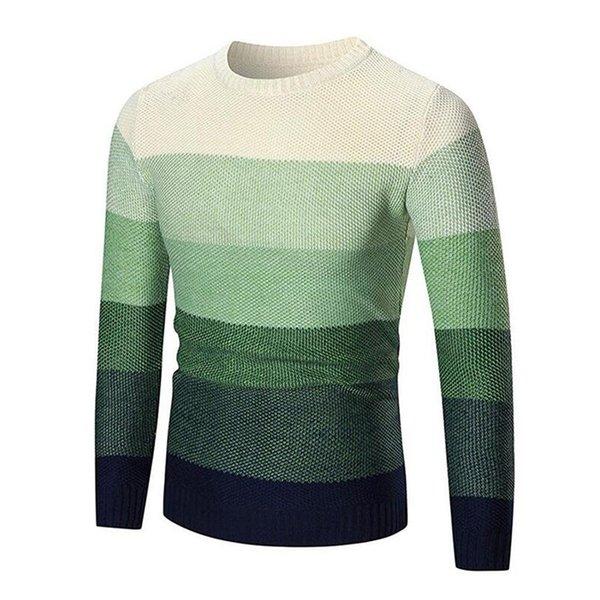 Gresanhevic Neue Männer Pullover Tops Mode Ombre Rundhalsausschnitt Schlank Strickpullover Strickwaren Outwear