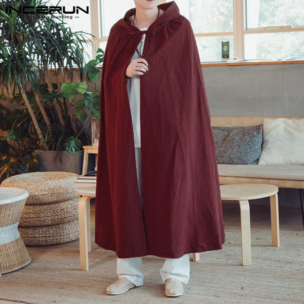 INCERUN 2018 Mens Cloak Vintage Cape Coat Hooded Cotton Solid Color Long Outerwear Trench Coat Streetwear Baggy Male Windbreaker