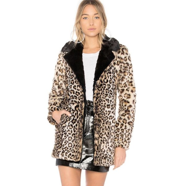 Winter Fashion Faux Fur Coat Women Leopard Print Wild Faux Fur Coat Without Belt Warm Women Jacket 2018 Cloth casacas para mujer