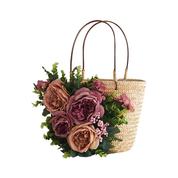 2017 NEW Flowers women Bag Summer Beach ladies Handbag Causal Straw Woven Shoulder Bags small Purse Pouches Bolsa travel Bags