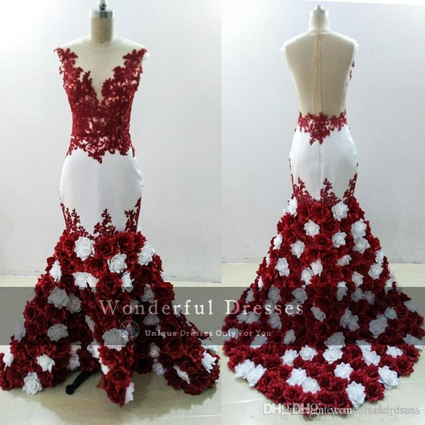 2018 3D Rose Flowers Mermaid Prom Dresses Sexy Burgundy And White Lace Appliques Sheer Black Girl Evening Dress African Negarian