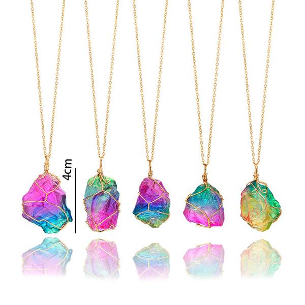 Heißer Verkaufs-bunter rauer Steinanhänger-Halsketten-Draht eingewickelte unregelmäßige natürliche Mineral-Stein-Halskette senden herein gelegentliches freies DHL D473L A