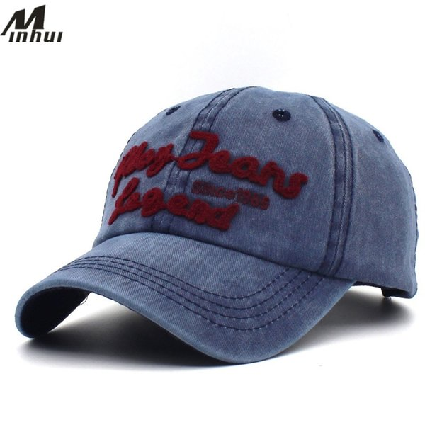 Minhui New Vintage Cotton Baseball Caps for Men Letters Hats Women Casual Headwear Washed Snapback Hat