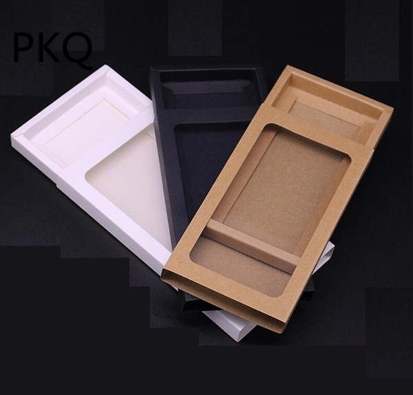 10pcs kraft paper drawer boxes with pvc window White Black Mobile Phone Packaging Gift Box