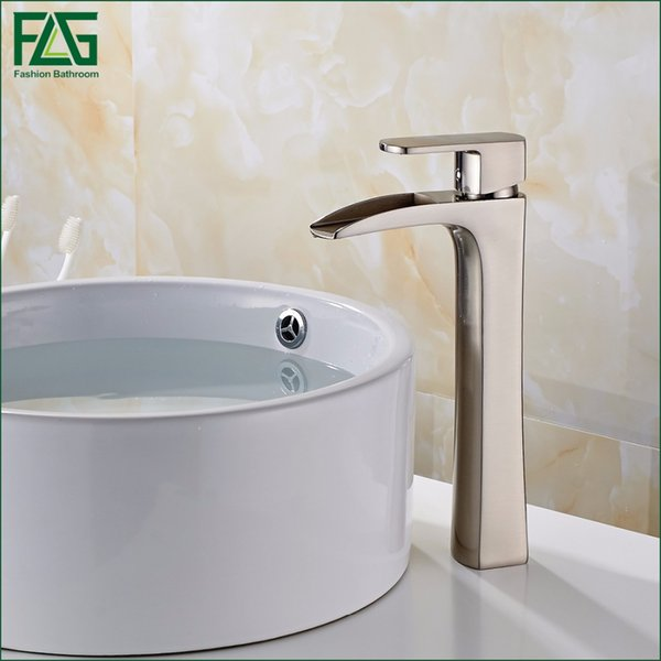 Wholesale-FLG Free Shipping Basin Faucet Nickel Brushed All-copper Deck Mounted Single Lever Vessel Faucet Bathroom Tap Sink Mixer 144-22N