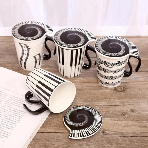 Design de notas musicais canecas para vinho café beber cerâmica copo sem colher tampas lidar com estilo moda resistência ao calor copo