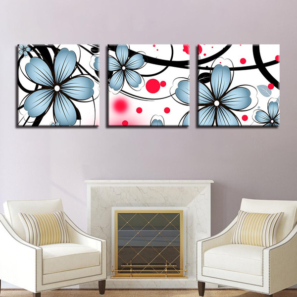 Canvas Pictures Framework Living Room Home Decor HD Prints Flowers Posters 3 Pieces Blue Catharanthus Roseus Paintings Wall Art