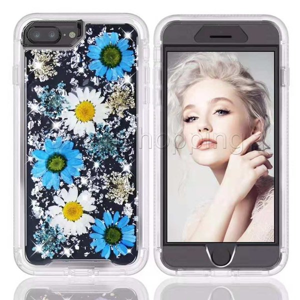 بلينغ الزهور شفاف واضح الذهب احباط القضية المدمجة ريال المجففة زهرة غطاء لفون 6 7 8 زائد X XS XR XS MAX Samsung S9 Note 9