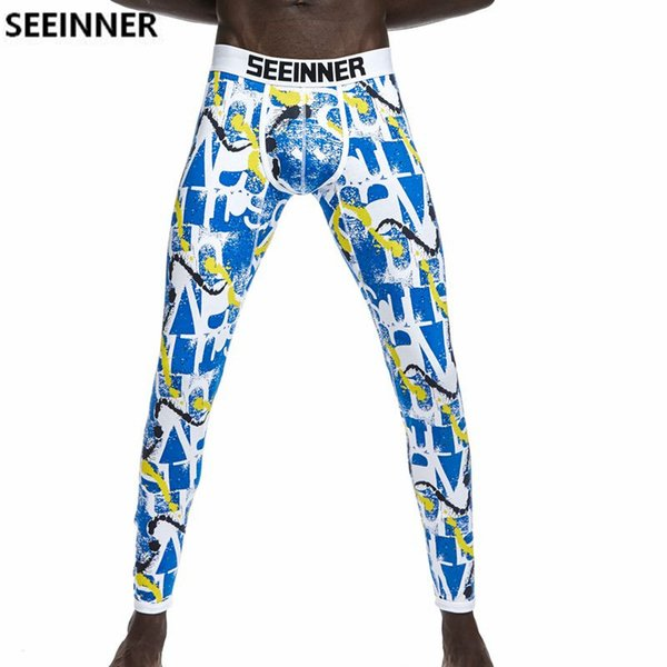 Seeinner Brand Men Long Johns Cotton Printed leggings Thermal Underwear cuecas Gay Men Thermo Underwear Long Johns Underpants