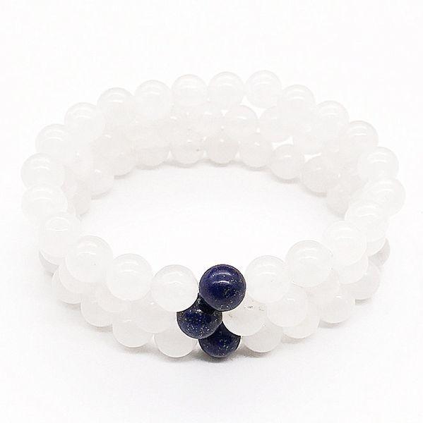 10mm White Jade Bracelet,Gemstone Bracelet,Lapis Lazuli Round Beads,Elastic Bracelet,Good Luck Bracelet
