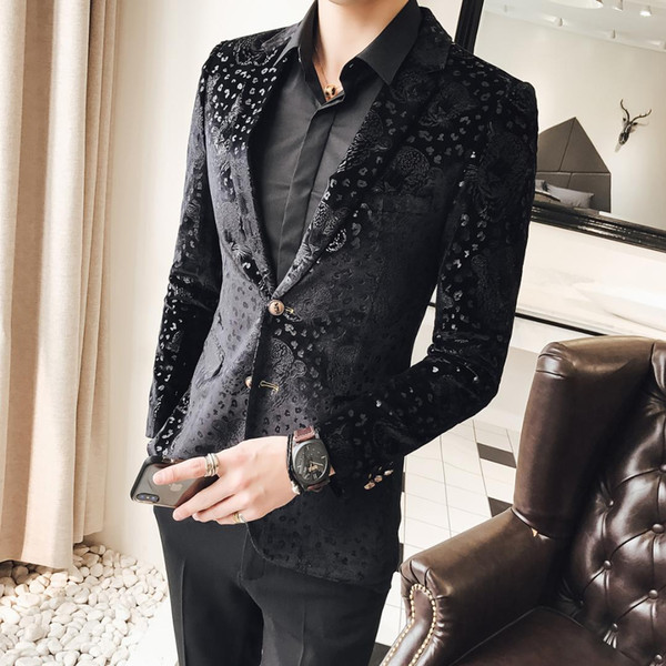 2019 Black Velvet Blazer Men Male Suit Jacket Casual Business Flower