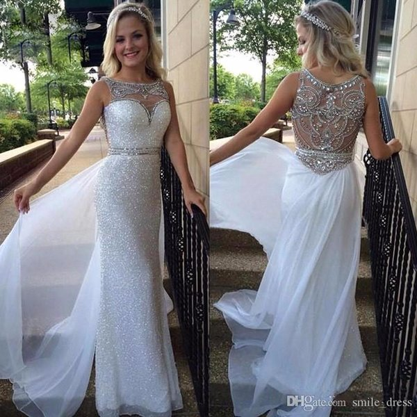 Elegant Crystal Beaded Evening Dresses Sweetheart Sheer Illusion Sequins Skirt White Chiffon Mermaid Long Prom Gowns 2018