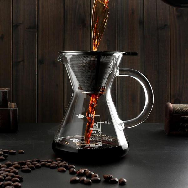 400 ml Gießen Sie über Kaffee Manuelle Filterkaffeemaschine Mit Edelstahl Filter Fine Mesh Teekessel Kaffee Tee Werkzeuge
