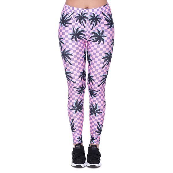 Mulheres Leggings Verão Aventura Palms Xadrez 3D Impressão Menina Skinny Stretchy Calças Confortáveis Ginásio Lápis de fitness Fit Calças Yoga (YX41437)