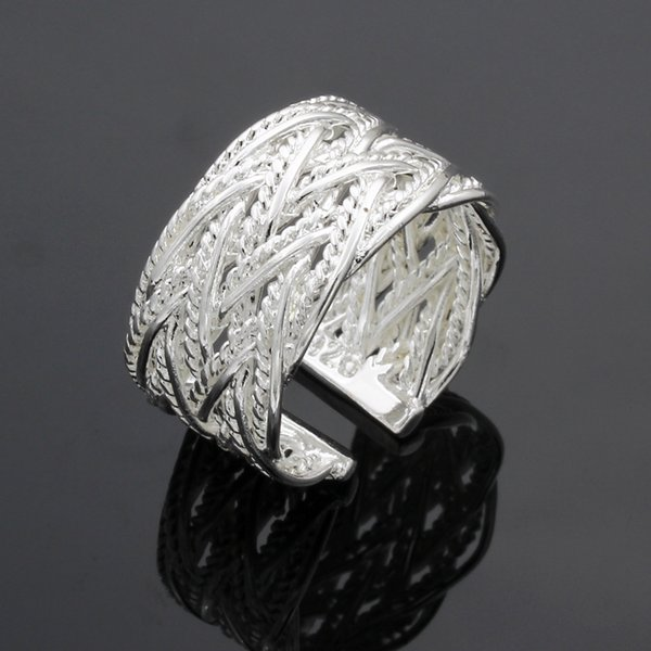 Fine 925 Sterling Silver Ring for Women Men,Hot Sale XMAS Wholesale Fashion jewelry 925 Silver Classic Net Open Ring Wedding New XR023