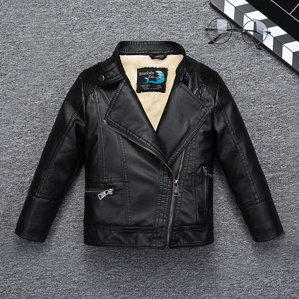 Водонепроницаемая дышащая мягкая кожаная куртка для мальчиков на осень-зима для детей, классная моторная куртка-бомбер, детская одежда