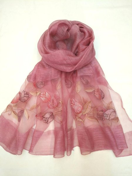 Lace Scarf Shawl Long Scarves Embroidered Beach Scarf Women Beach Cover Up Vintage Female Wrap Hijab Sun Protection