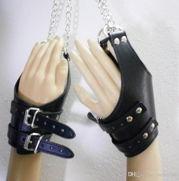 Faux Leather Sex Bondage Suspension Muñeca Puños acolchados con D-Ring Slave Trainer Adultos Kinky Fetish Restraint Toys Negro