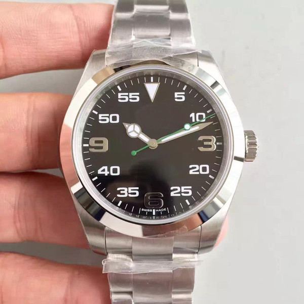 2019 En çok satan klasik erkekler İzle AIR-KING 40 MM siyah büyük arama safir cam otomatik hareket 316 çelik kayış erkek kol saati
