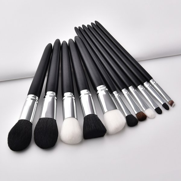DHL Free shipping 11pcs Goat Hair Cosmetic Makeup Brushes Set Blusher Eyeshadow Powder Foundation Eyebrow Lip Make up Brush kit