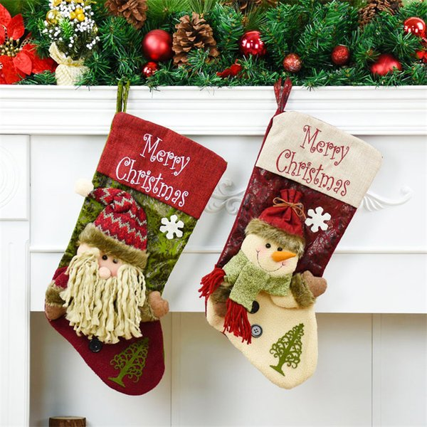 Christmas Tree Decorations Hanging 2pcs Santa Claus+Snowman Christmas Stockings New Year Candy Gift Bag Xmas Tree Drop Ornaments
