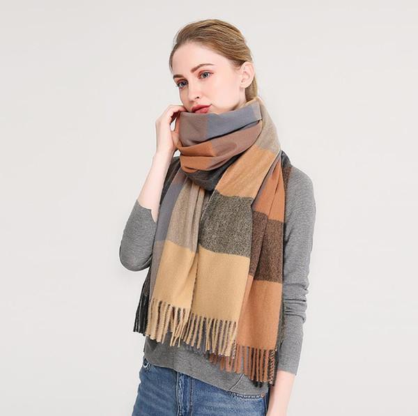 Women Pashmina Scarf Long Shawl Winter Large Cashmere Feel Plaid Warm Scarves Tartan Wraps Ladies Gift Écharpe Schal lyddæmper Châle